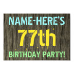 [ Thumbnail: Faux Wood, Painted Text Look, 77th Birthday + Name Invitation ]