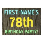 [ Thumbnail: Faux Wood, Painted Text Look, 78th Birthday + Name Invitation ]