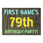 [ Thumbnail: Faux Wood, Painted Text Look, 79th Birthday + Name Invitation ]