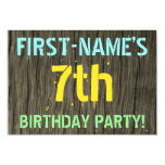 [ Thumbnail: Faux Wood, Painted Text Look, 7th Birthday + Name Invitation ]