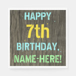 [ Thumbnail: Faux Wood, Painted Text Look, 7th Birthday + Name Napkin ]