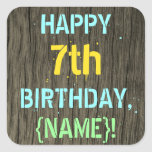 [ Thumbnail: Faux Wood, Painted Text Look, 7th Birthday + Name Sticker ]