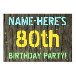 [ Thumbnail: Faux Wood, Painted Text Look, 80th Birthday + Name Invitation ]