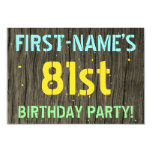 [ Thumbnail: Faux Wood, Painted Text Look, 81st Birthday + Name Invitation ]