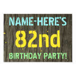 [ Thumbnail: Faux Wood, Painted Text Look, 82nd Birthday + Name Invitation ]