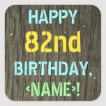 [ Thumbnail: Faux Wood, Painted Text Look, 82nd Birthday + Name Sticker ]
