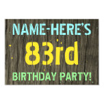 [ Thumbnail: Faux Wood, Painted Text Look, 83rd Birthday + Name Invitation ]