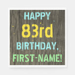 [ Thumbnail: Faux Wood, Painted Text Look, 83rd Birthday + Name Napkin ]