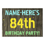 [ Thumbnail: Faux Wood, Painted Text Look, 84th Birthday + Name Invitation ]
