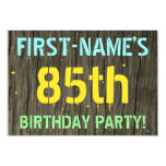 [ Thumbnail: Faux Wood, Painted Text Look, 85th Birthday + Name Invitation ]
