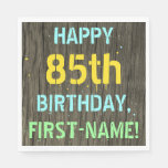 [ Thumbnail: Faux Wood, Painted Text Look, 85th Birthday + Name Napkin ]