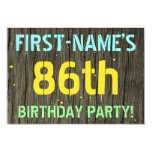 [ Thumbnail: Faux Wood, Painted Text Look, 86th Birthday + Name Invitation ]