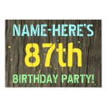 [ Thumbnail: Faux Wood, Painted Text Look, 87th Birthday + Name Invitation ]