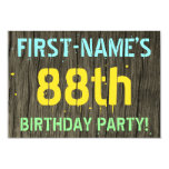 [ Thumbnail: Faux Wood, Painted Text Look, 88th Birthday + Name Invitation ]