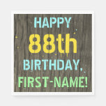 [ Thumbnail: Faux Wood, Painted Text Look, 88th Birthday + Name Napkin ]