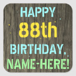 [ Thumbnail: Faux Wood, Painted Text Look, 88th Birthday + Name Sticker ]