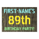[ Thumbnail: Faux Wood, Painted Text Look, 89th Birthday + Name Invitation ]