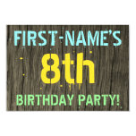 [ Thumbnail: Faux Wood, Painted Text Look, 8th Birthday + Name Invitation ]