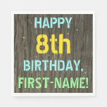 [ Thumbnail: Faux Wood, Painted Text Look, 8th Birthday + Name Napkin ]