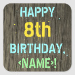 [ Thumbnail: Faux Wood, Painted Text Look, 8th Birthday + Name Sticker ]