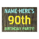 [ Thumbnail: Faux Wood, Painted Text Look, 90th Birthday + Name Invitation ]