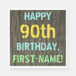 [ Thumbnail: Faux Wood, Painted Text Look, 90th Birthday + Name Napkin ]