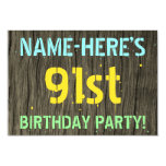 [ Thumbnail: Faux Wood, Painted Text Look, 91st Birthday + Name Invitation ]