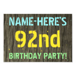 [ Thumbnail: Faux Wood, Painted Text Look, 92nd Birthday + Name Invitation ]
