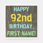 [ Thumbnail: Faux Wood, Painted Text Look, 92nd Birthday + Name Napkin ]