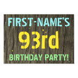[ Thumbnail: Faux Wood, Painted Text Look, 93rd Birthday + Name Invitation ]