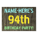 [ Thumbnail: Faux Wood, Painted Text Look, 94th Birthday + Name Invitation ]