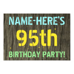 [ Thumbnail: Faux Wood, Painted Text Look, 95th Birthday + Name Invitation ]