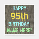 [ Thumbnail: Faux Wood, Painted Text Look, 95th Birthday + Name Napkin ]