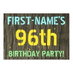 [ Thumbnail: Faux Wood, Painted Text Look, 96th Birthday + Name Invitation ]