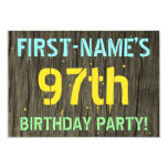 [ Thumbnail: Faux Wood, Painted Text Look, 97th Birthday + Name Invitation ]