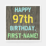 [ Thumbnail: Faux Wood, Painted Text Look, 97th Birthday + Name Napkin ]