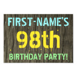 [ Thumbnail: Faux Wood, Painted Text Look, 98th Birthday + Name Invitation ]