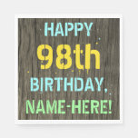 [ Thumbnail: Faux Wood, Painted Text Look, 98th Birthday + Name Napkin ]