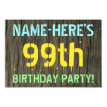 [ Thumbnail: Faux Wood, Painted Text Look, 99th Birthday + Name Invitation ]