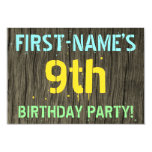 [ Thumbnail: Faux Wood, Painted Text Look, 9th Birthday + Name Invitation ]