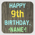 [ Thumbnail: Faux Wood, Painted Text Look, 9th Birthday + Name Sticker ]