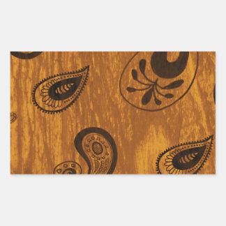 Faux Wood Paisley Rectangular Sticker