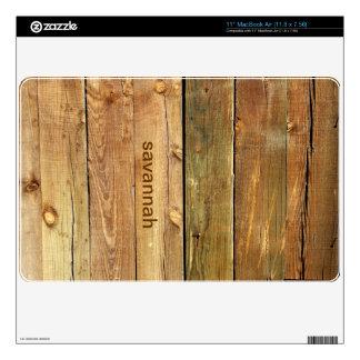 Faux Wood Personalized MacBook Air Skin