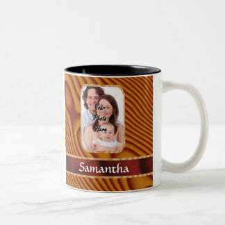 Faux wood photo template Two-Tone coffee mug