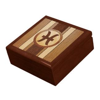 Faux Wood Pisces Astrology Symbol Trinket Box