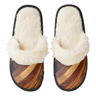 Faux Wood Slats Pair Of Fuzzy Slippers