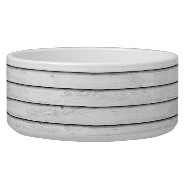 Beach Themed Faux Wood Slats | White | Customizable Bowl