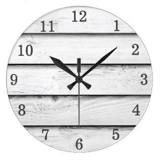 Faux Wood Slats | White | Customizable Large Clock