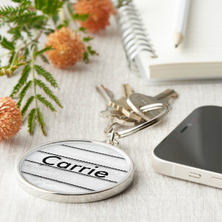 Faux Wood Slats | White | Customizable Silver-Colored Round Keychain