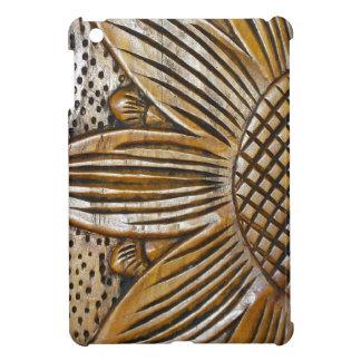 Faux Wood Sunflower Carving Photo iPad Mini Case